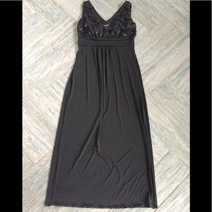 Enfocus black Sequin Floral maxi evening dress 6p